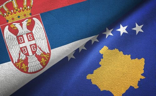 Serbia and Kosovo two folded flags together