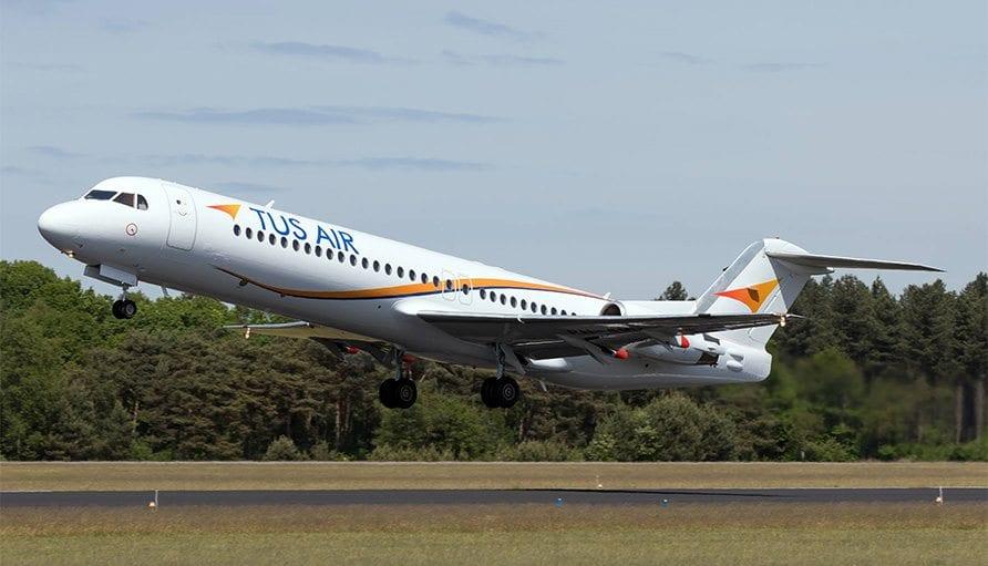 "Tus Airways מתחדשת בשני מטוסי פוקר 100. צילום: יח""צ"