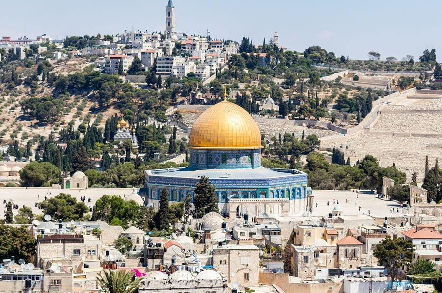 Jerusalem, Israel, September 07, 2019 : View of the Dome of the Rock from the bell tower of the Lutheran Church of the Redeemer on Muristan street in the Old City in Jerusalem, Israel