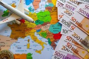 מטוס על מפת אירופה