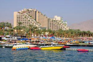 View of East beach of Eilat . Israel.