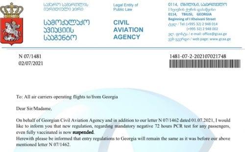 צילום: מתוך מכתב רשות התעופה הגאורגית לחברות התעופה ב-2.7