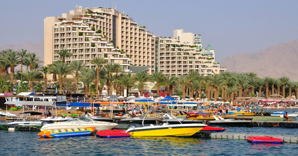 View of East beach of Eilat . Israel.