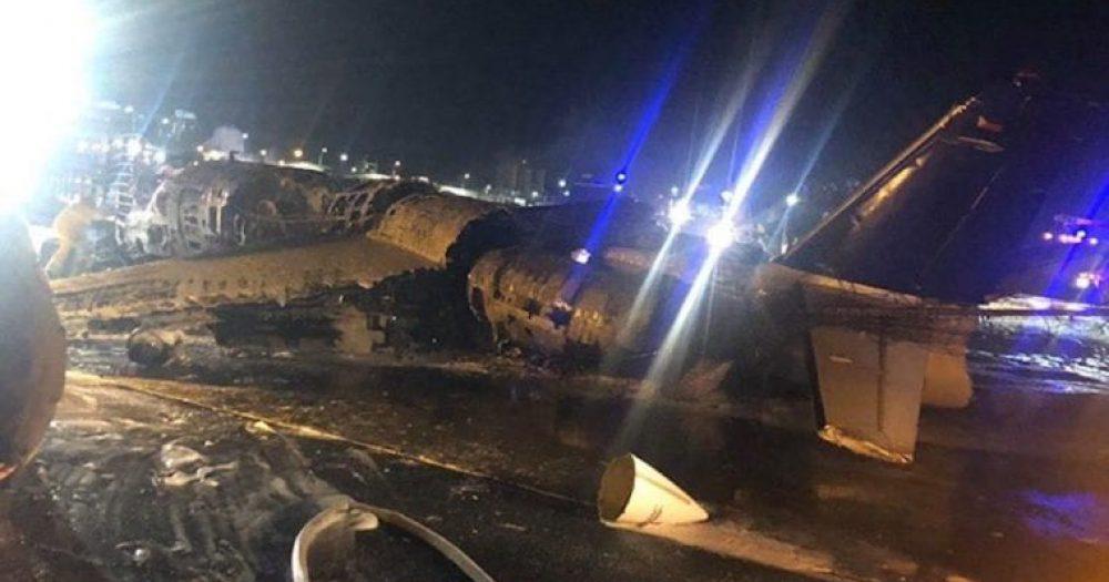 המטוס התרסק בהמראה. צילום: רשות התעופה מנילה
