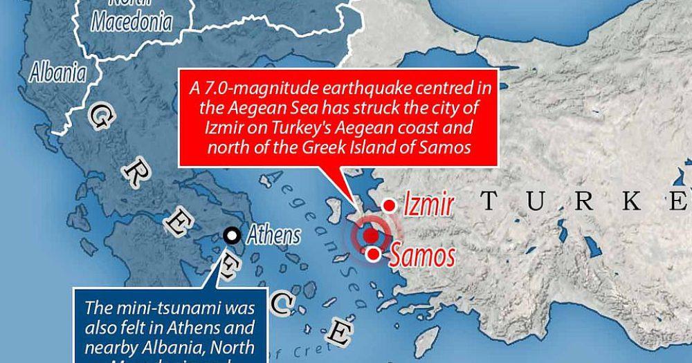 מפת אזור רעידת האדמה - השירות הסייסמולוגי האירופי